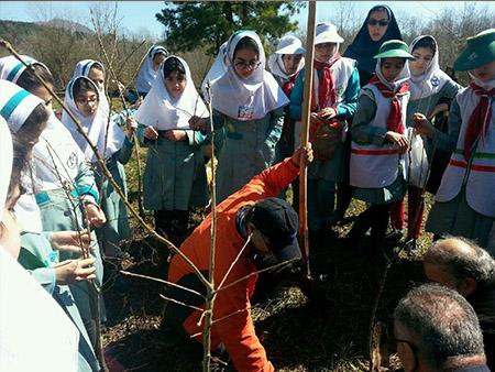 درختکاری متفاوت دانش آموزان مدرسه سبز لاهیجان با شعار «به دست خود درختی می نشانم»